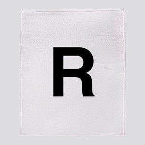 R Helvetica Alphabet Throw Blanket