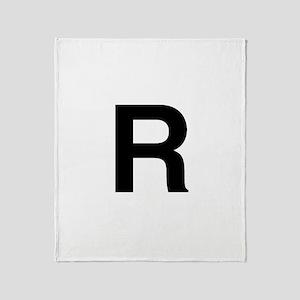 R Helvetica Alphabet Throw Blanket