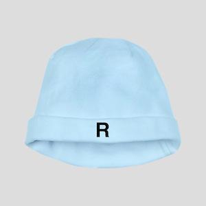 R Helvetica Alphabet baby hat
