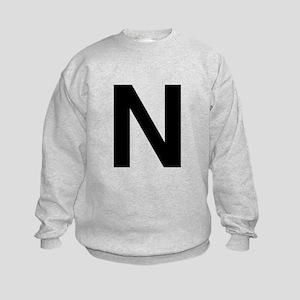 N Helvetica Alphabet Kids Sweatshirt