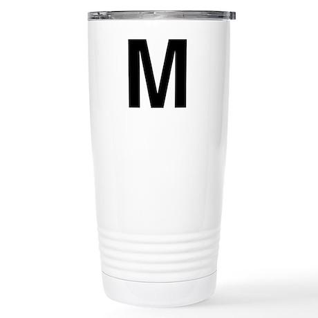 M Helvetica Alphabet Stainless Steel Travel Mug