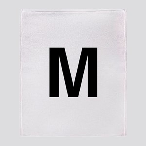 M Helvetica Alphabet Throw Blanket