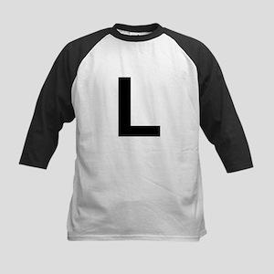 L Helvetica Alphabet Kids Baseball Jersey