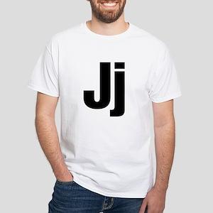 J Helvetica Alphabet White T-Shirt
