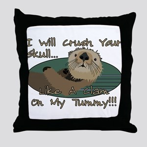 Otter Skull Crush Throw Pillow
