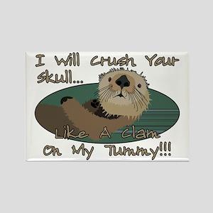 Otter Skull Crush Rectangle Magnet
