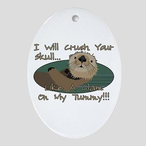 Otter Skull Crush Ornament (Oval)