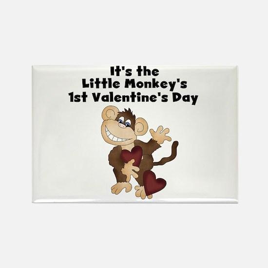 Monkey 1st Valentine's Day Rectangle Magnet (10 pa