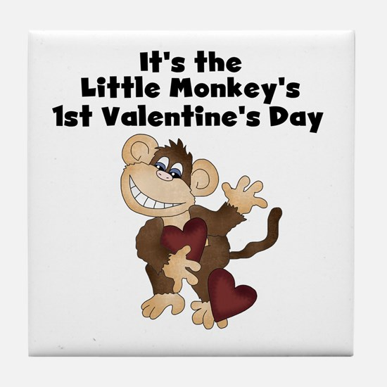 Monkey 1st Valentine's Day Tile Coaster
