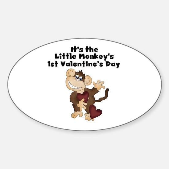 Monkey 1st Valentine's Day Sticker (Oval)