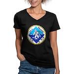 USS BEARSS Women's V-Neck Dark T-Shirt