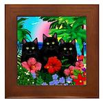 Black Cats Tropical Sunset Framed Tile