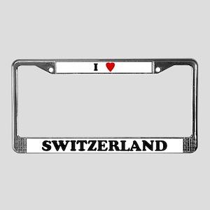 I Love Switzerland License Plate Frame