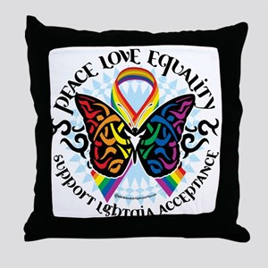 LGBT Peace Love Equality Throw Pillow