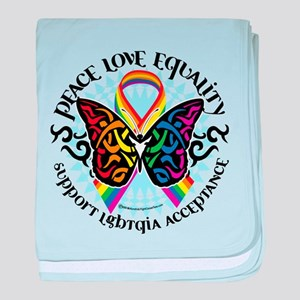 LGBT Peace Love Equality baby blanket