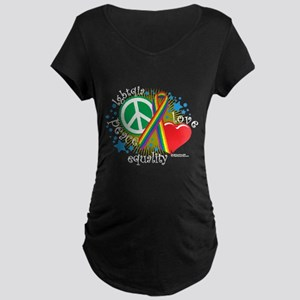 LGBTQIA Peace Love Equality Maternity Dark T-Shirt