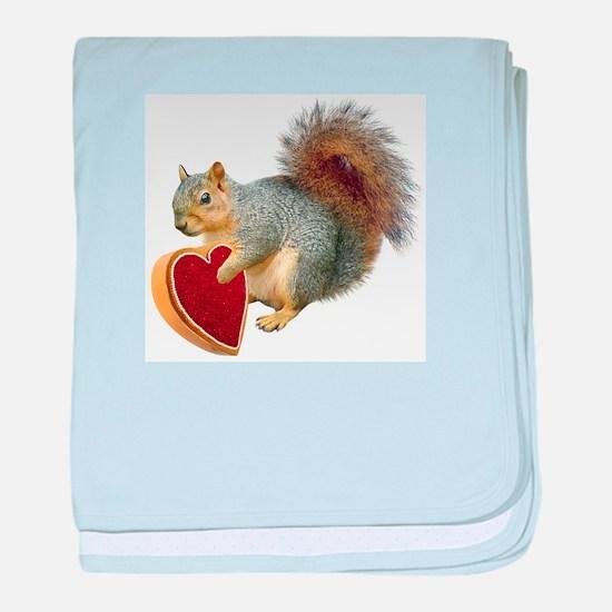 Squirrel Valentine baby blanket