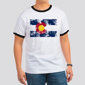 Distressed Colorado Flag Ringer T