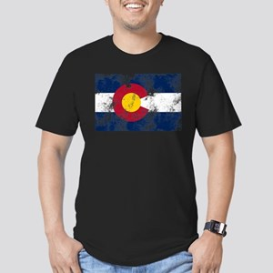Distressed Colorado Flag Men's Fitted T-Shirt (dar
