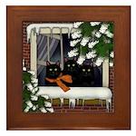 Black Cats Frozen Window Framed Tile