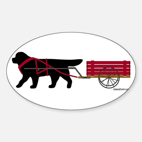 Newfoundland Pulling Cart Sticker (Oval)