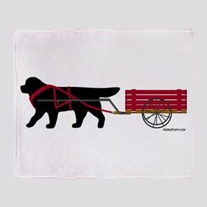 Newfoundland Pulling Cart Throw Blanket