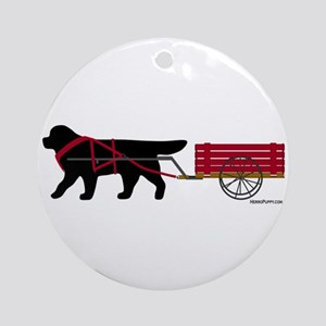 Newfoundland Pulling Cart Ornament (Round)