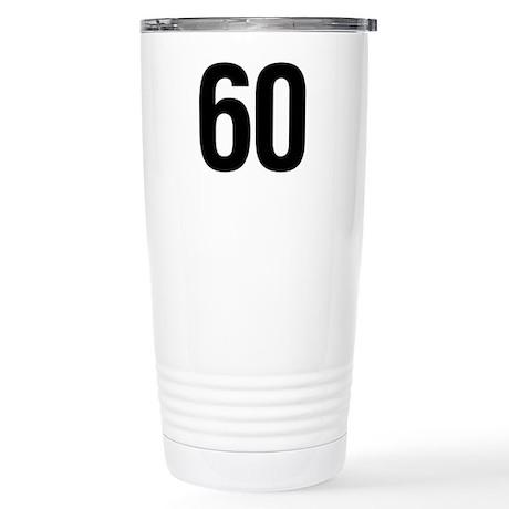 Number 60 Helvetica Stainless Steel Travel Mug