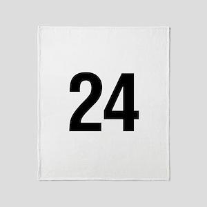 Number 24 Helvetica Throw Blanket