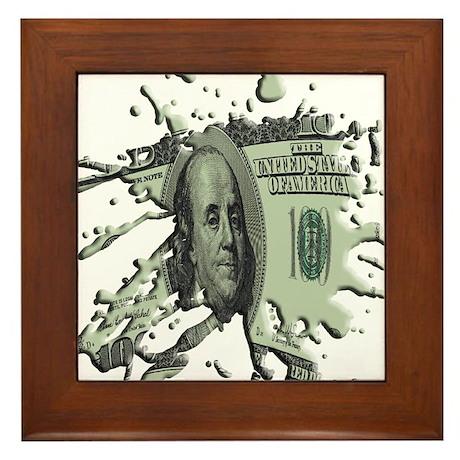 100 Dollar Blot Framed Tile