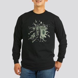 100 Dollar Blot Long Sleeve Dark T-Shirt