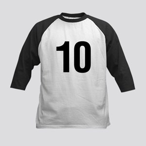 Number 10 Helvetica Kids Baseball Jersey