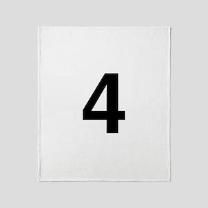 Number 4 Helvetica Throw Blanket