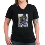 USS BENNER Women's V-Neck Dark T-Shirt