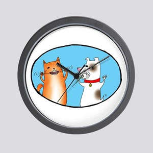 Cat and Dog Cleaning Their Te Wall Clock
