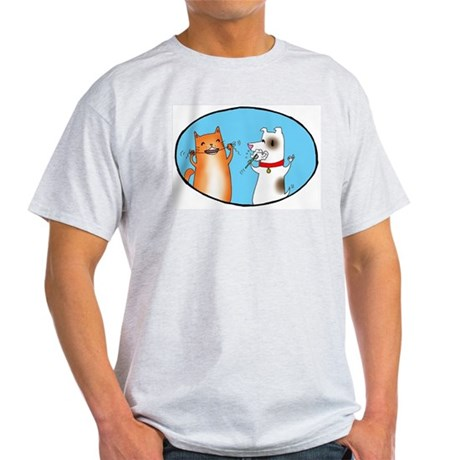 Cat and Dog Cleaning Their Te Light T-Shirt
