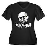 Madhouse Mayhem Women's Plus Size V-Neck Dark T-Sh