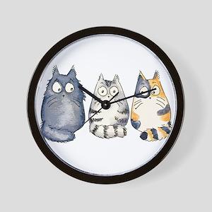 Three 3 Cats Wall Clock