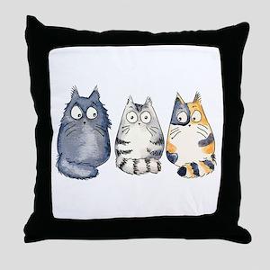 Three 3 Cats Throw Pillow