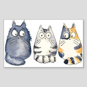 Three 3 Cats Sticker (Rectangle)
