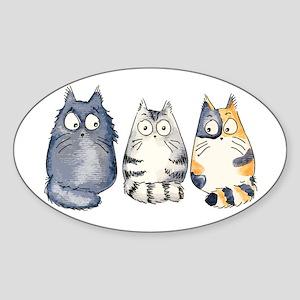 Three 3 Cats Sticker (Oval)