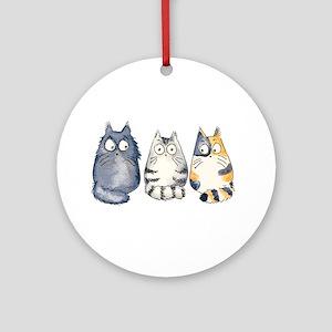Three 3 Cats Ornament (Round)