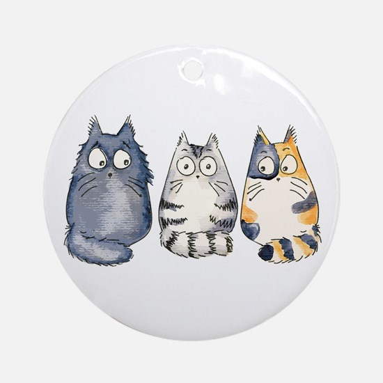 Three 3 Cats Ornament (Round)