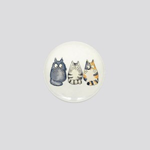 Three 3 Cats Mini Button