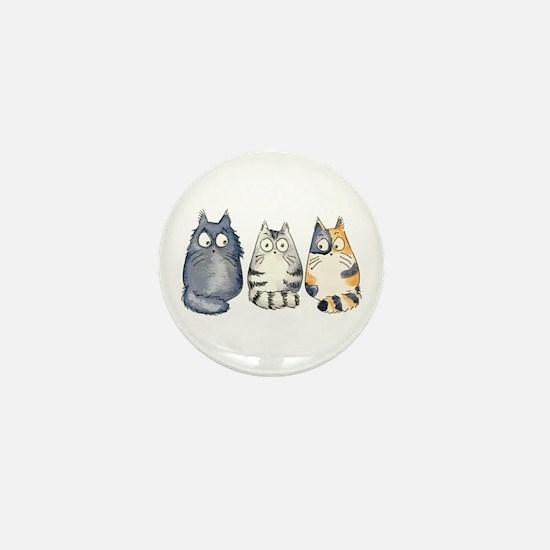 Three 3 Cats Mini Button