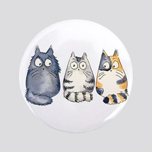 "Three 3 Cats 3.5"" Button"