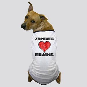 Vintage Zombies Heart Brains Dog T-Shirt