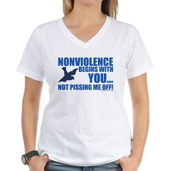 Nonviolence Begins with You... Women's V-Neck T-Sh