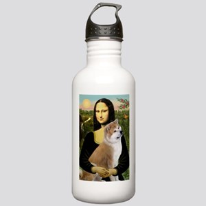 Mona / Akita (br&w) Stainless Water Bottle 1.0L