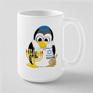 Hanukkah Scarf Penguin Large Mug